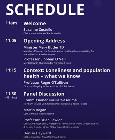 COVID-19 Loneliness & isolation webinar schedule